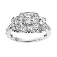 Simply Vera Vera Wang Diamond Trellis Halo Engagement Ring in 14k White Gold (3/4 ct. T.W.)
