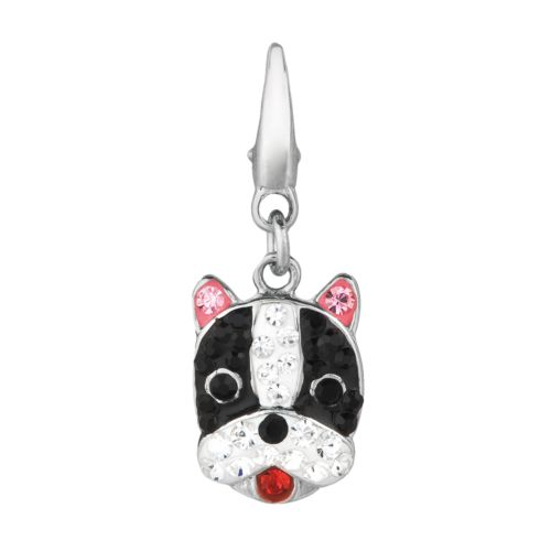 Sterling Silver Crystal Boston Terrier Dog Charm
