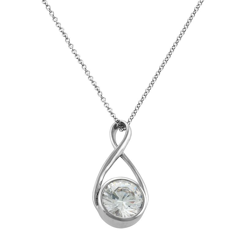 Silver Plated Lab-Created Cubic Zirconia Infinity Pendant