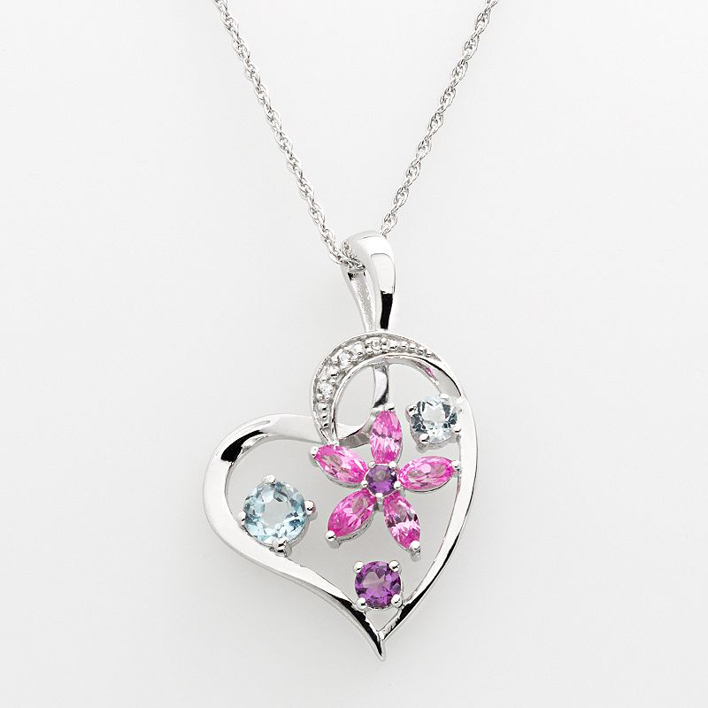 Sterling Silver Lab-Created Amethyst, Lab-Created Sapphire and Sky Blue Topaz Flower Heart Pendant