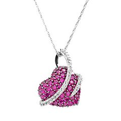 Sterling Silver Lab-Created Ruby & Lab-Created White Sapphire Wrapped Heart Pendant by