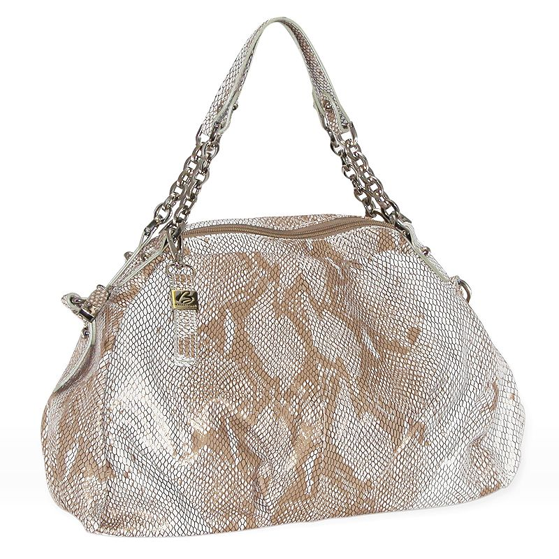B-Collective by Buxton Embossed Snakeskin Leather Hobo