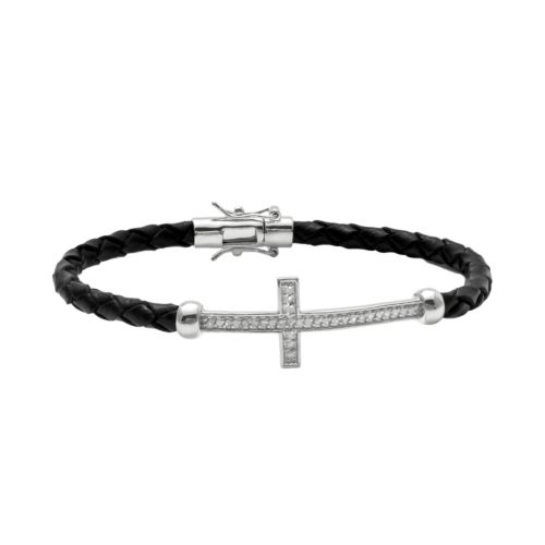 Sterling Silver and Leather 1/4-ct. T.W. Round-Cut Diamond Sideways Cross Bracelet