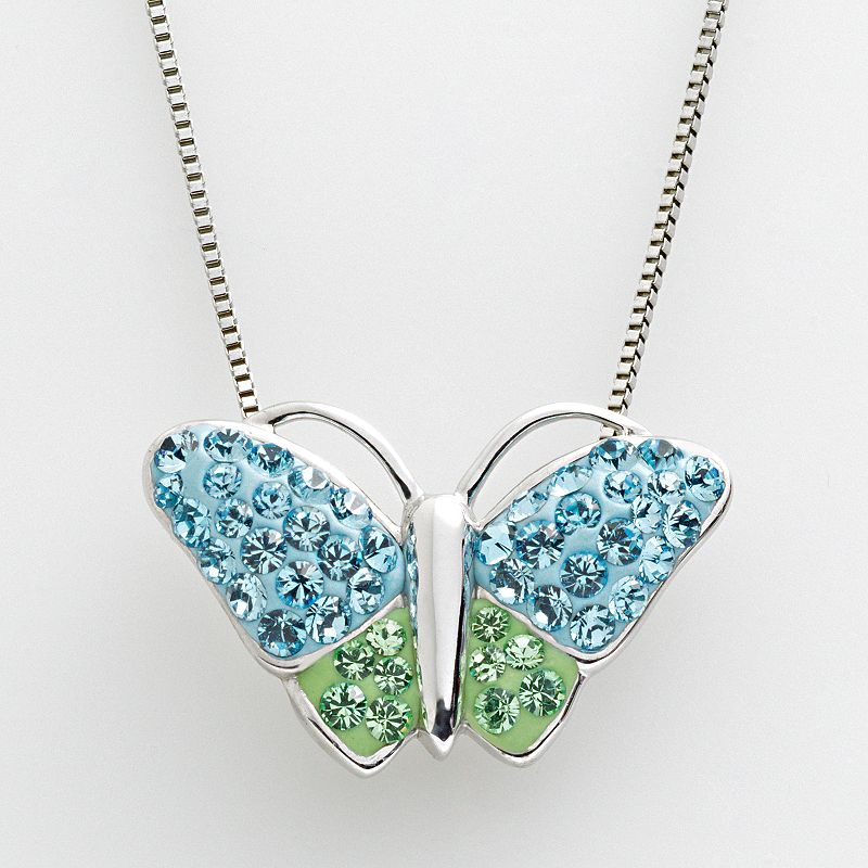 Artistique Sterling Silver Crystal Butterfly Pendant - Made with Swarovski Crystals