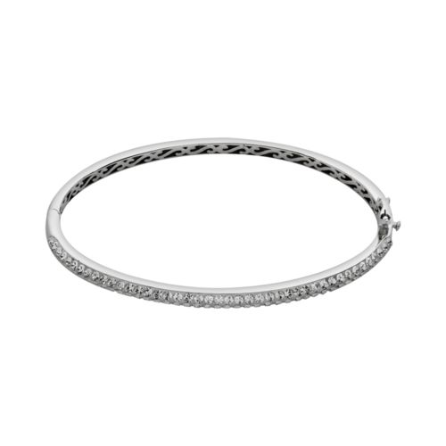 Artistique Sterling Silver Crystal Bangle Bracelet - Made with Swarovski Elements