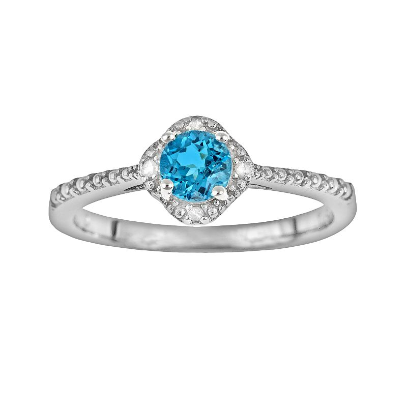 Sterling Silver Blue Topaz and Diamond Accent Frame Ring