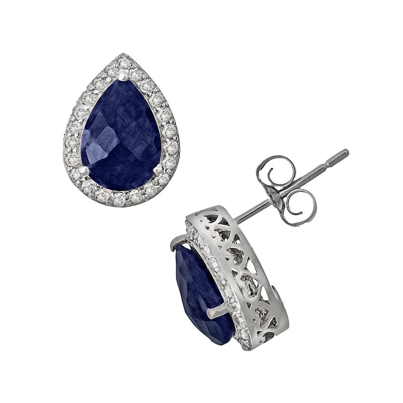 Sterling Silver 4/9-ct. T.W. Diamond and Opaque Sapphire Teardrop Stud Earrings