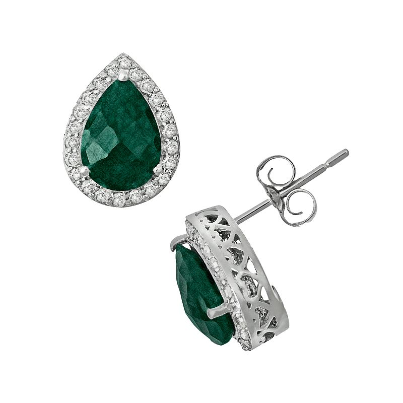 Sterling Silver 4/9-ct. T.W. Diamond and Opaque Emerald Teardrop Stud Earrings