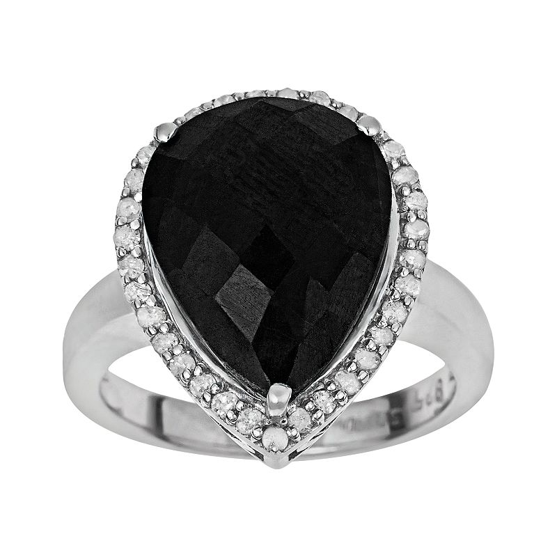 Sterling Silver 1/3-ct. T.W. Diamond and Black Agate Teardrop Ring