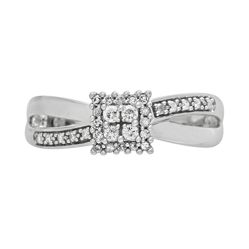 Cherish Always 10k White Gold 1/5-ct. T.W. Round-Cut Diamond Square Cluster Ring