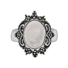 Silver Plated Mother-of-Pearl & Marcasite Oval Ring