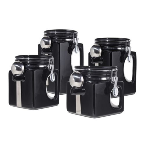 oggi ez grip handle 4 pc kitchen canister set oggi 4 piece acrylic canister set with spoons 5355