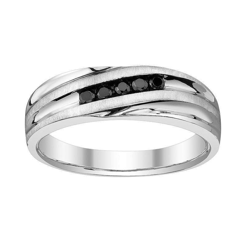 Platina 4 Black Round-Cut Diamond Accent Wedding Ring - Men