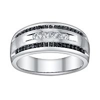 Platina 4 1/2-ct. T.W. Black & White Diamond Wedding Ring - Men