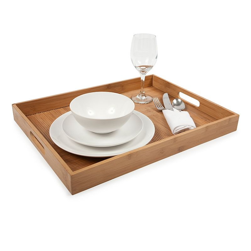 Core Bamboo Luxe Collection Criss-Cross Rectangle Breakfast Serving Tray