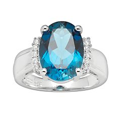 Sterling Silver London Blue Topaz & Diamond Accent Ring by