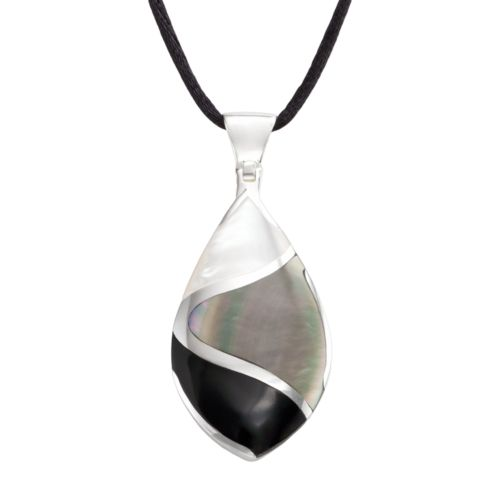 Sterling Silver Onyx and Mother-of-Pearl Teardrop Pendant