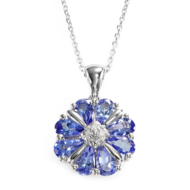 Sterling Silver Tanzanite and Diamond Accent Flower Pendant