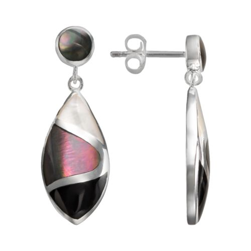 Sterling Silver Onyx and Mother-of-Pearl Teardrop Earrings