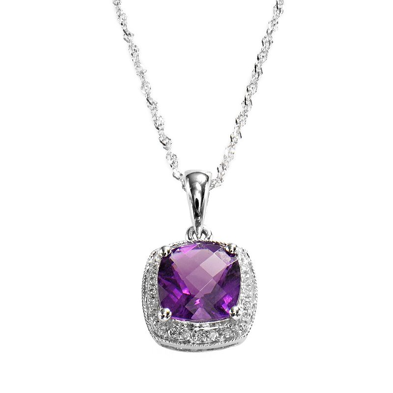 14k White Gold Amethyst and Diamond Accent Frame Pendant