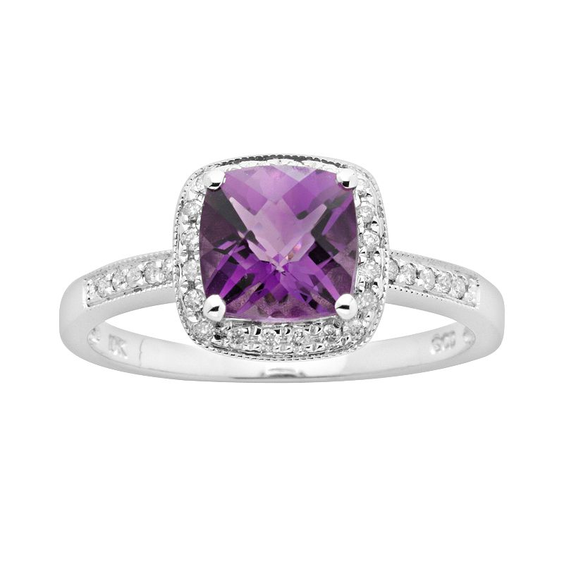 14k White Gold 1/8-ct. T.W. Diamond and Amethyst Frame Ring