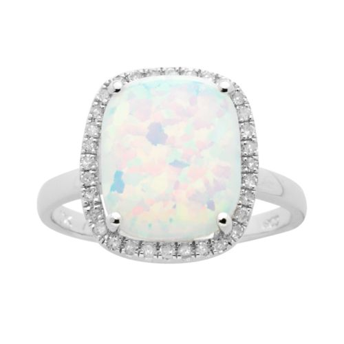 10k White Gold .15-ct. T.W. Diamond and Lab-Created Opal Frame Ring