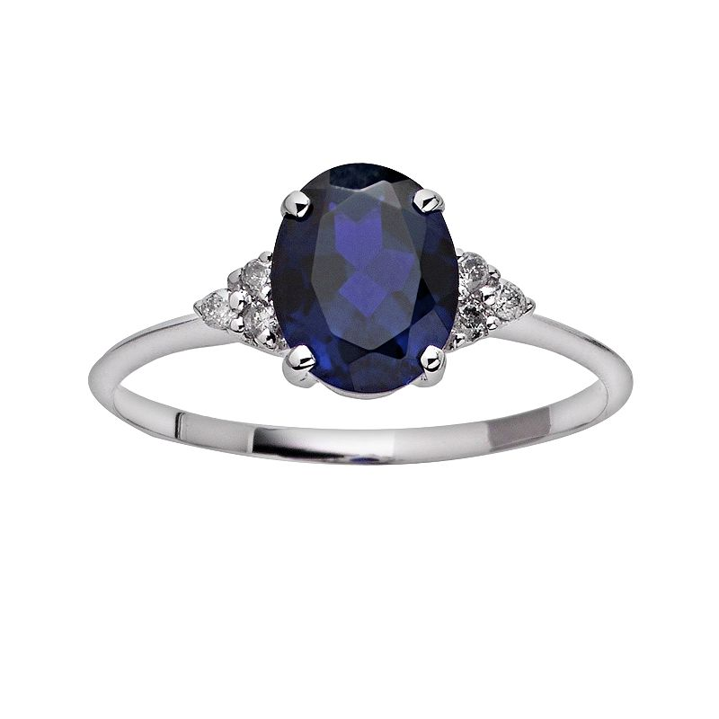 10k White Gold Lab-Created Sapphire and Diamond Accent Ring