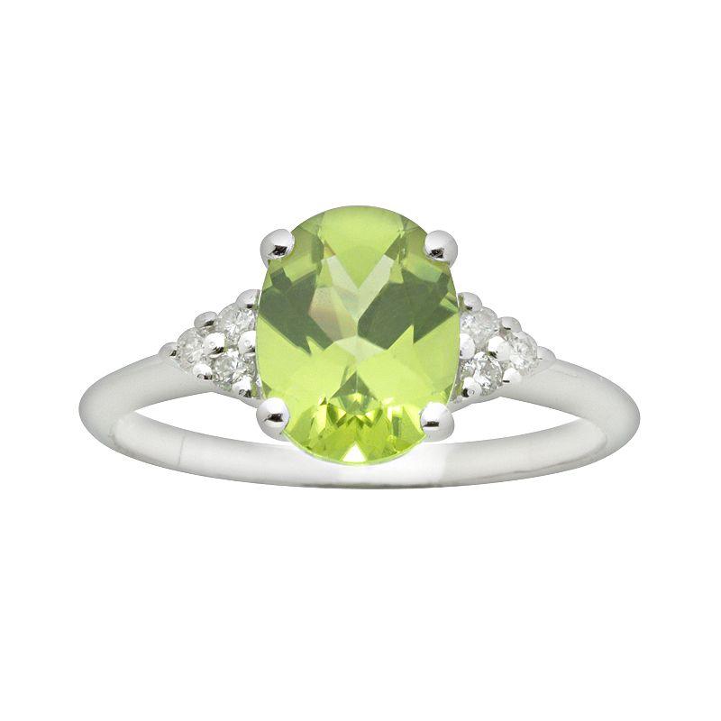 10k White Gold Peridot and Diamond Accent Ring