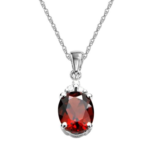 10k White Gold Garnet and Diamond Accent Pendant