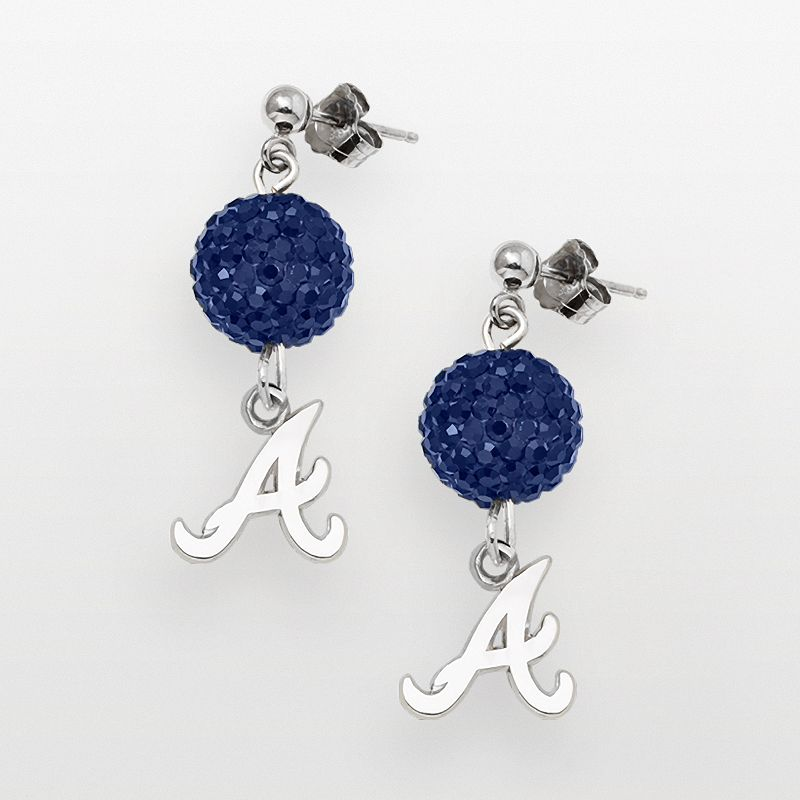 LogoArt Atlanta Braves Sterling Silver Crystal Ball Drop Earrings