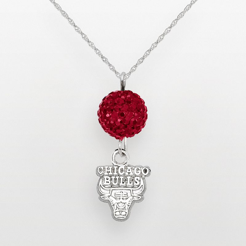 Chicago Bulls Sterling Silver Crystal Ball Pendant