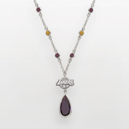 Los Angeles Lakers Silver Tone Crystal Y Necklace