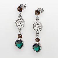 Boston Celtics Silver Tone Crystal Drop Earrings