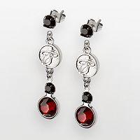 Miami Heat Silver Tone Crystal Drop Earrings