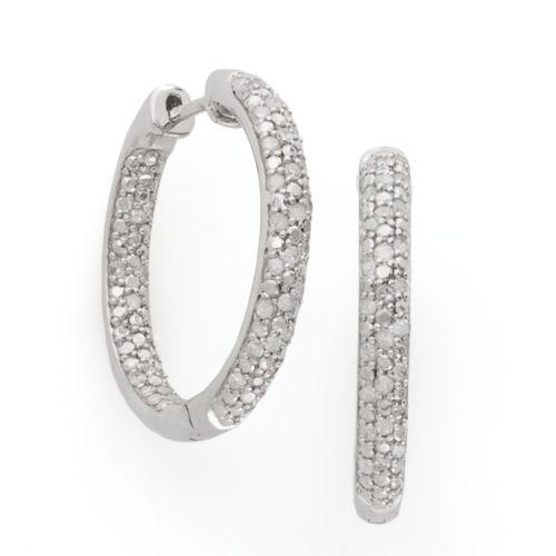 Sterling Silver 1/2-ct. T.W. Diamond Hoop Earrings
