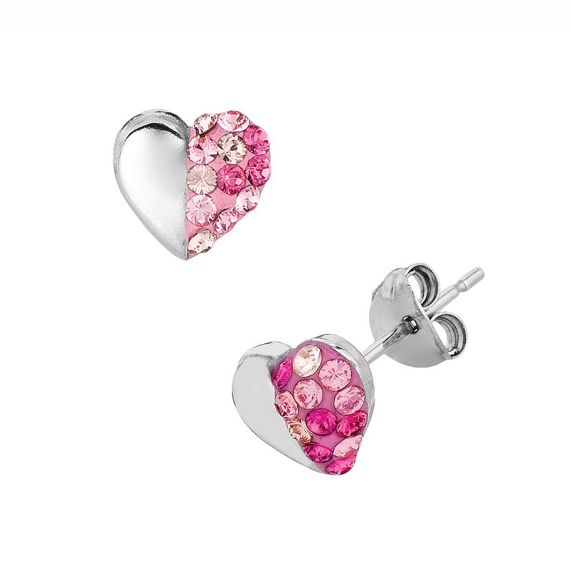 Silver on the Rocks Sterling Silver Crystal Heart Stud Earrings - Made with Swarovski Crystals