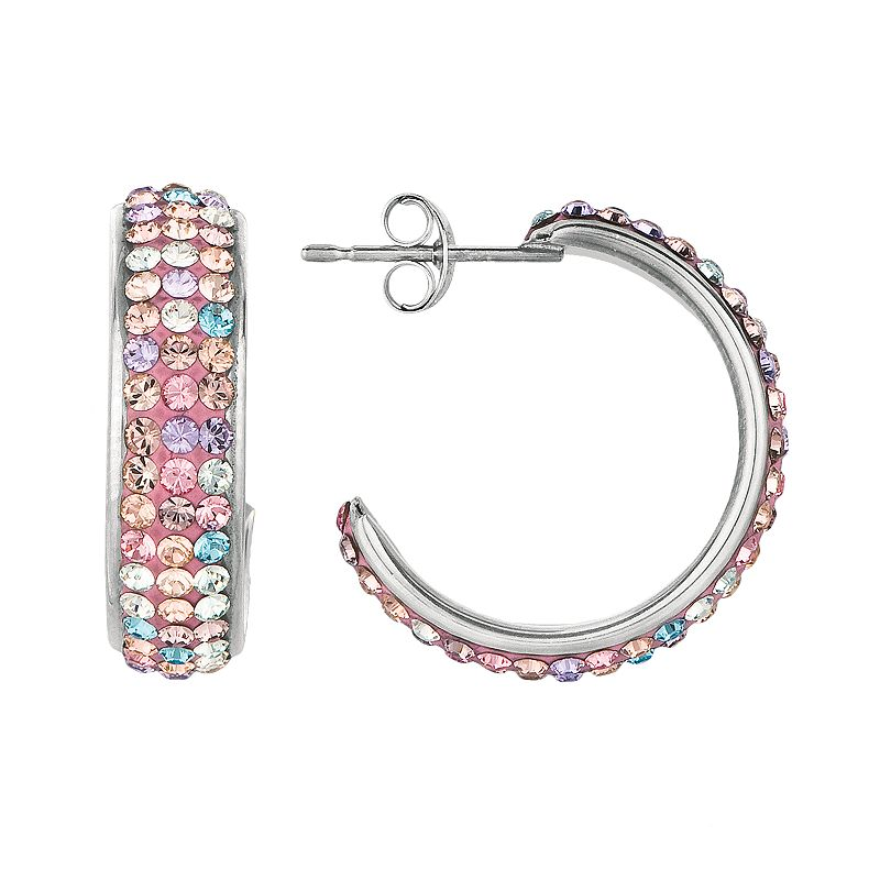 Silver on the Rocks Sterling Silver Crystal J-Hoop Earrings - Made with Swarovski Crystals