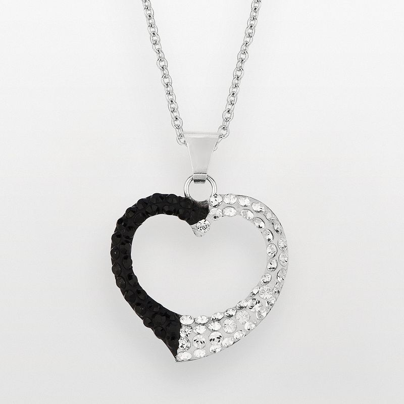 Silver on the Rocks Sterling Silver Black and White Crystal Heart Pendant - Made with Swarovski Crystals