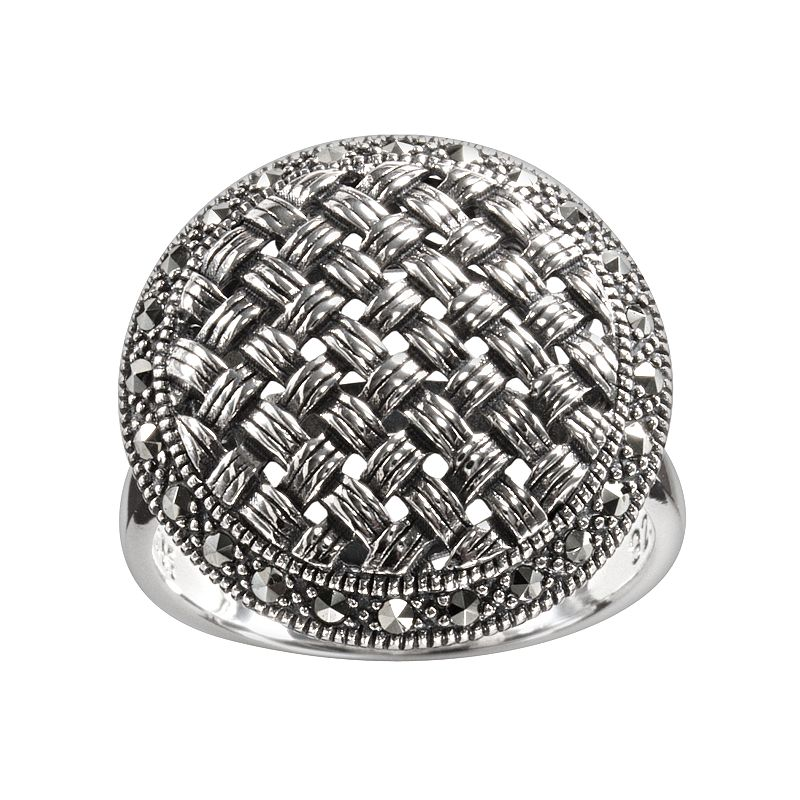 Lavish by TJM Sterling Silver Woven Dome Ring - Made with Swarovski Marcasite