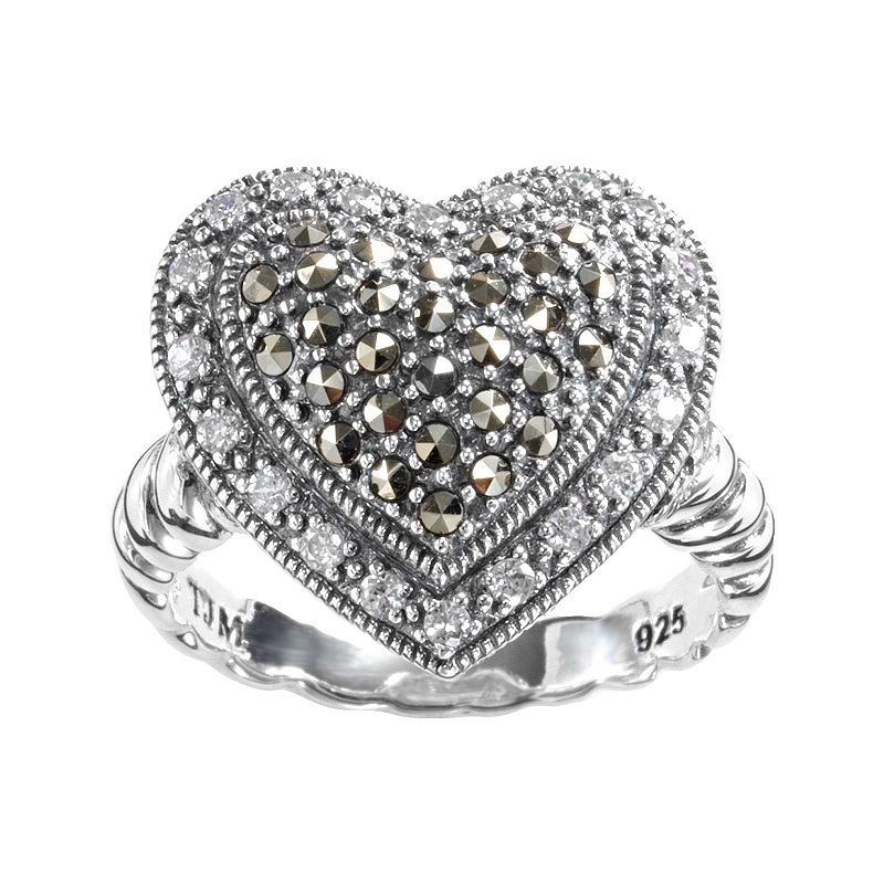 Lavish by TJM Sterling Silver Cubic Zirconia Tiered Heart Ring - Made with Swarovski Marcasite