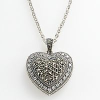 Lavish by TJM Sterling Silver Cubic Zirconia Tiered Heart Pendant - Made with Swarovski Marcasite