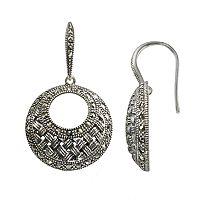 Lavish by TJM Sterling Silver Woven Hoop Drop Earrings - Made with Swarovski Marcasite