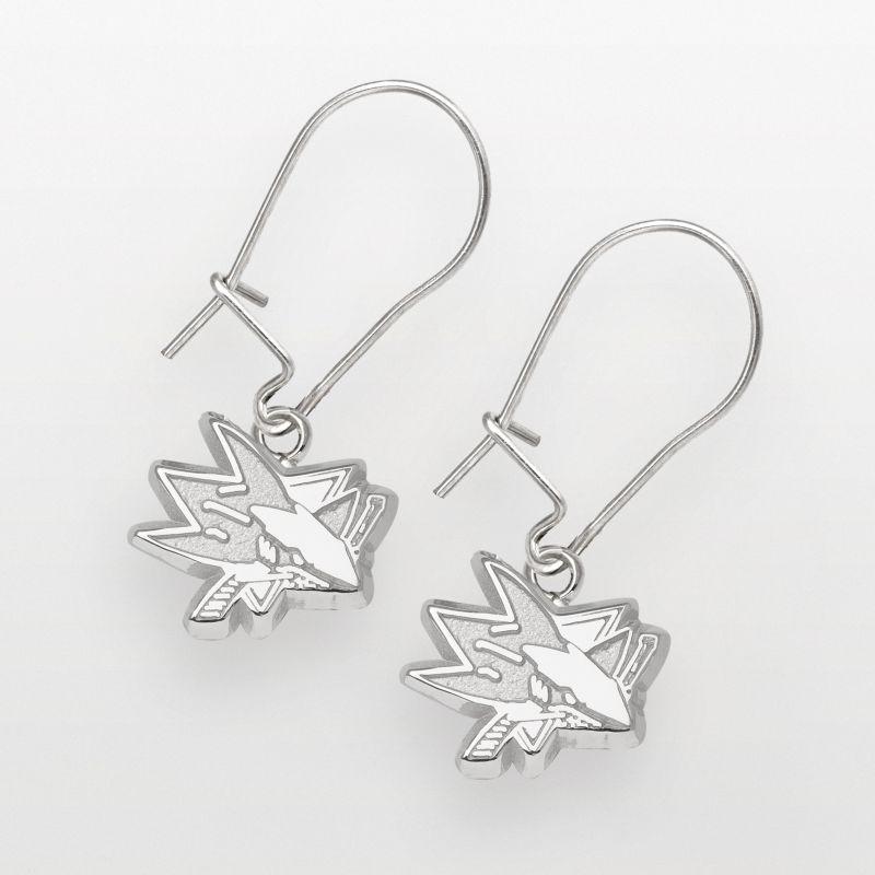 """San Jose Sharks 3/8"""" Logo Dangle Earrings - Sterling Silver Jewelry 92873395"""