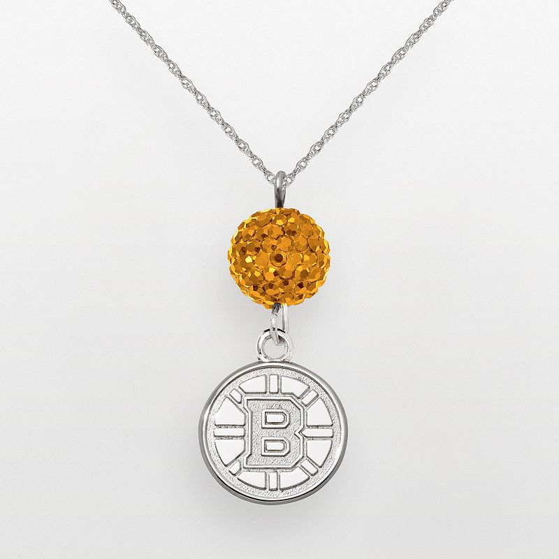 LogoArt Boston Bruins Sterling Silver Crystal Ball Pendant