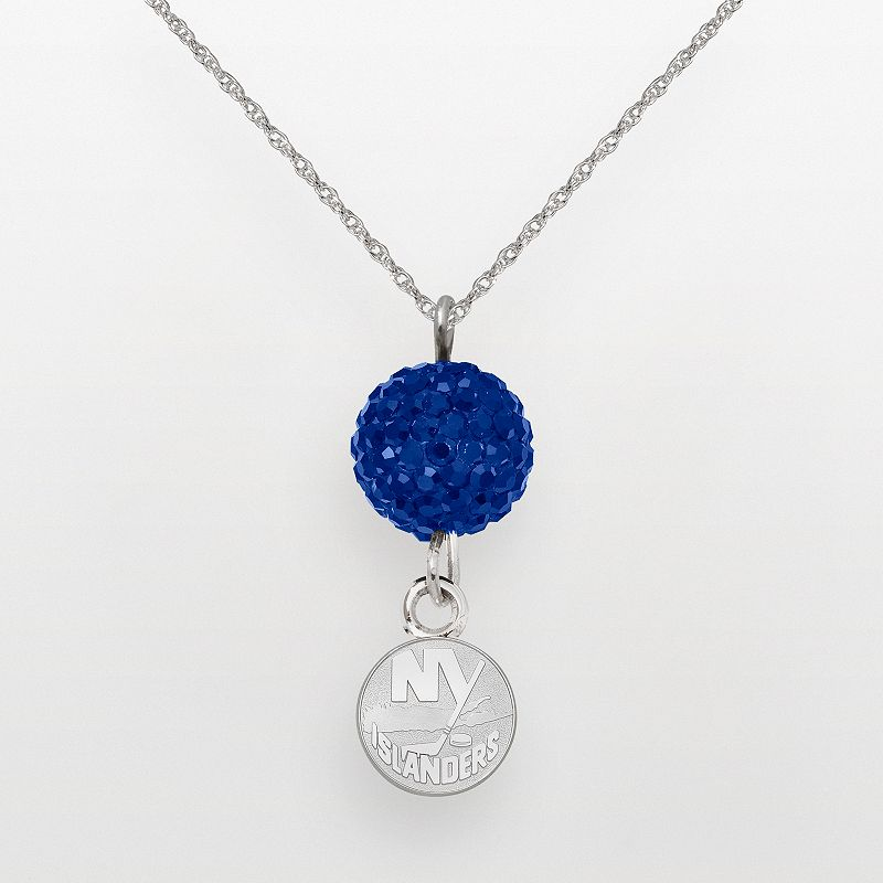 LogoArt New York Islanders Sterling Silver Crystal Ball Pendant