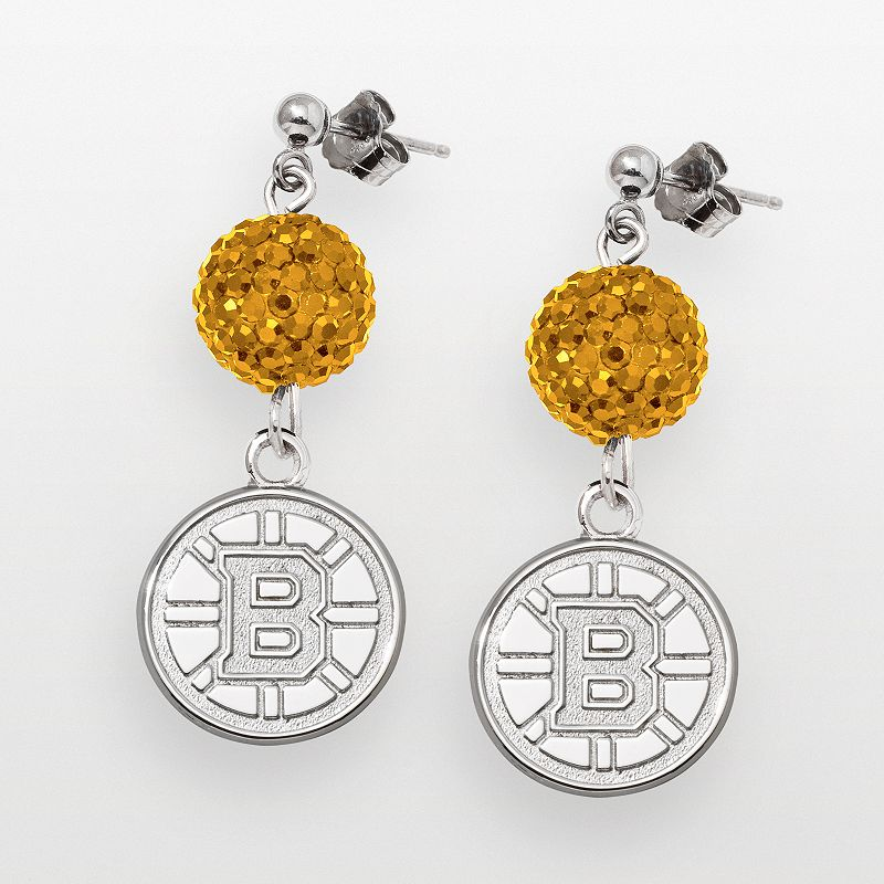 LogoArt Boston Bruins Sterling Silver Crystal Ball Drop Earrings