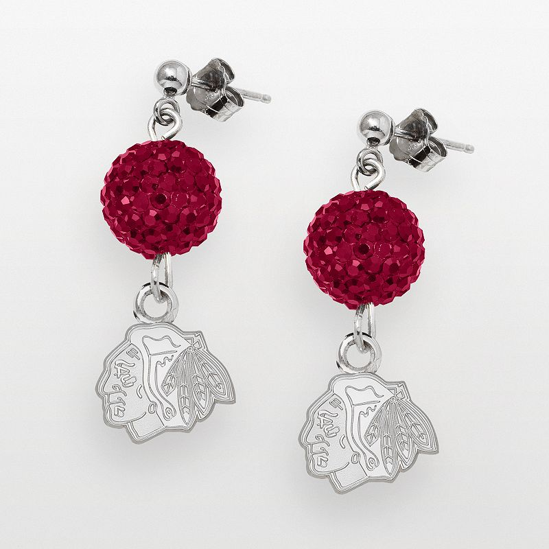 LogoArt Chicago Blackhawks Sterling Silver Crystal Ball Drop Earrings