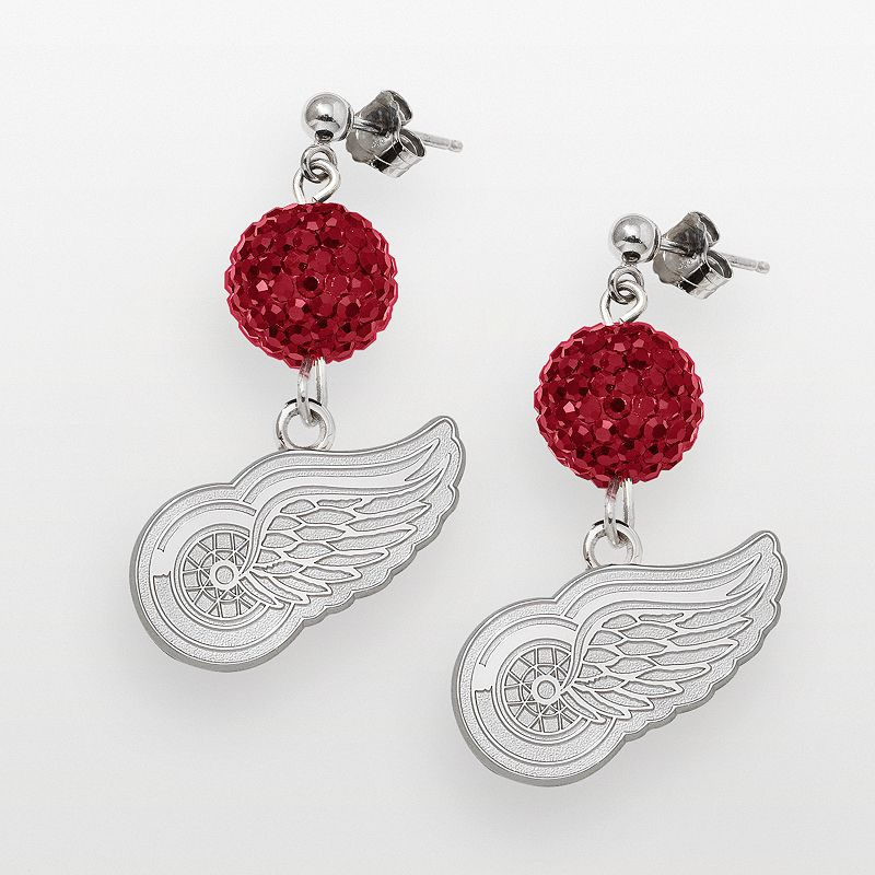LogoArt Detroit Red Wings Sterling Silver Crystal Ball Drop Earrings