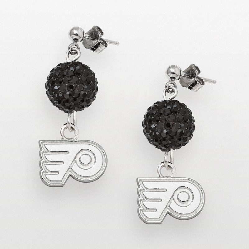 LogoArt Philadelphia Flyers Sterling Silver Crystal Ball Drop Earrings