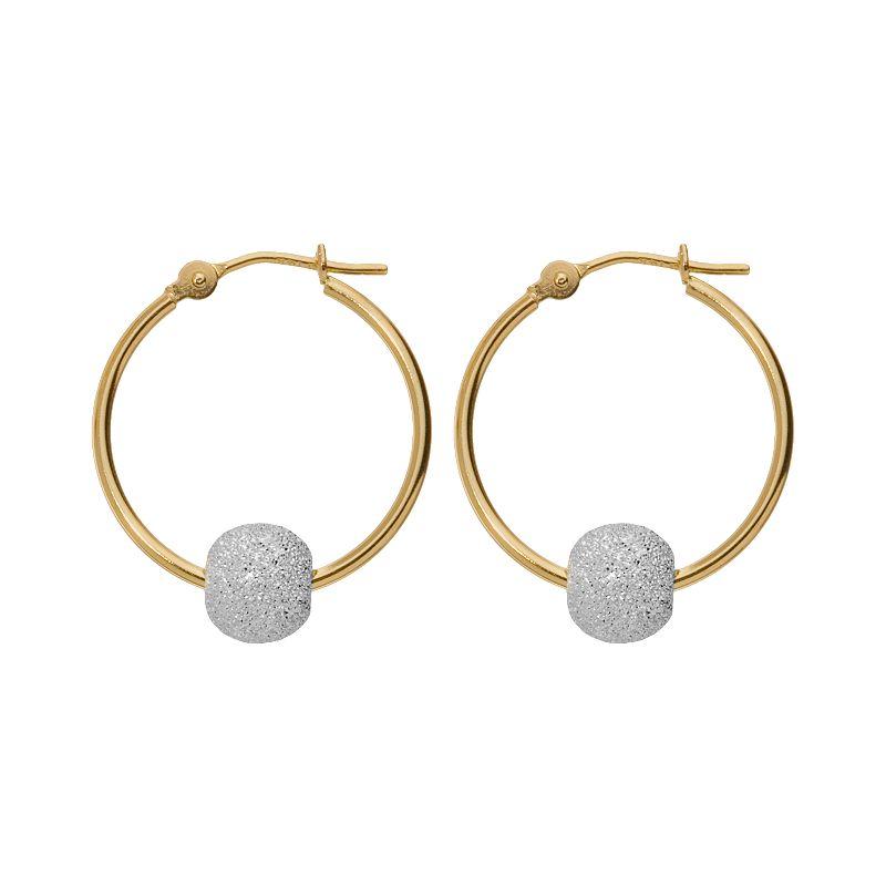 14k Gold Two Tone Ball Hoop Earrings